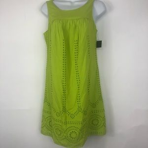 Crown & Ivy green embroidered lined dress size XS